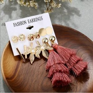 6 pc Boho Earrings Gold Tassels Leaves Bar Pearl